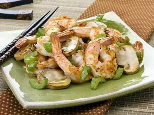 Crevettes au gingembre et champignons