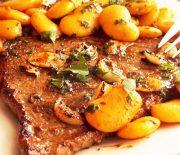 Steak a l'ail et haricots blancs sautées